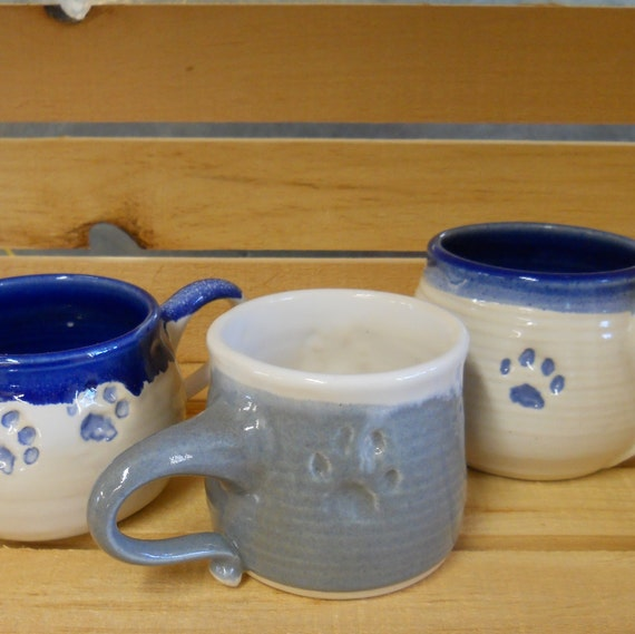 SALE %50 OFF - Gray & White Kitten Paw Food Safe Mug Wheel Thrown ceramic