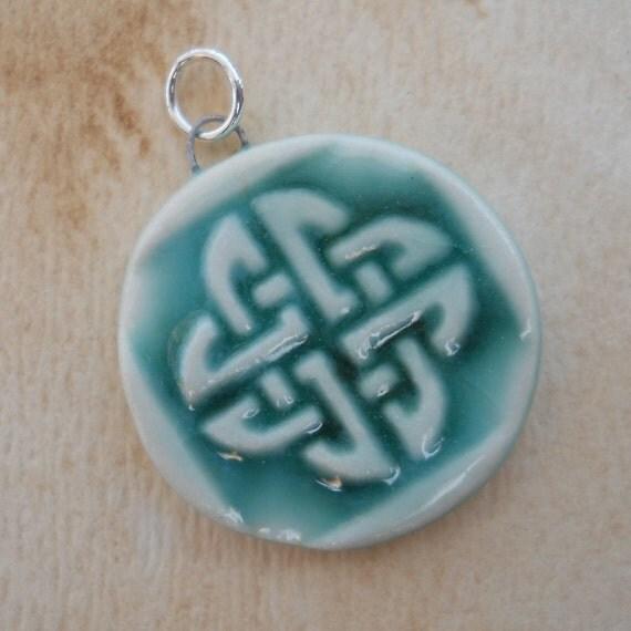 Ocean Blue Round Celtic Knot Pendant porcelain ceramic