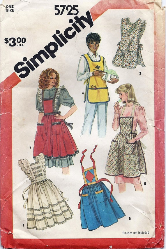 80s Apron Pattern Vintage Simplicity 5725 Sewing Pattern