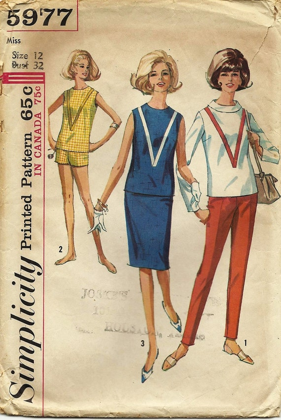 Vintage 60s Cigarette Pants Blouse Skirt Shorts Pattern Simplicity 5977 Dated 1965 Original not a Repro Size 12 Bust 32