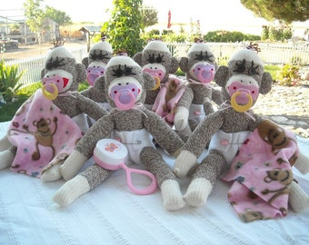 Sock Monkey Baby Shower / Party Centerpieces, MADE TO ORDER