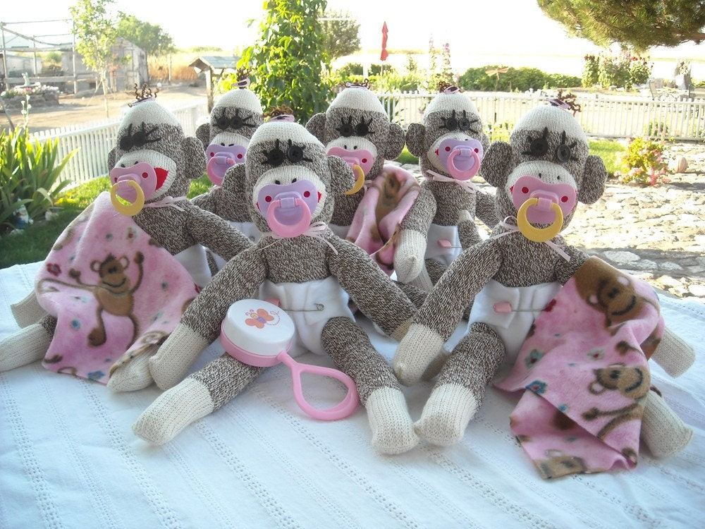 sock monkey baby shower party centerpieces made to order