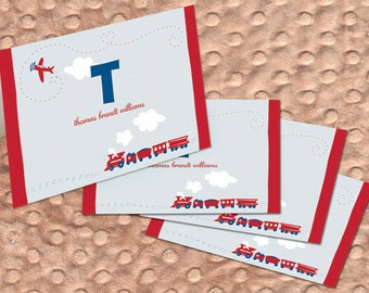 planes and trains notecards, new baby thank you cards, airplane notecards, train notecards, 1st birthday thank you cards, personalized cards