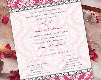 wedding invitations, bridal shower invitations, bright pink birthday party invitations, fuchsia bridal shower invitation, pinkalicious party
