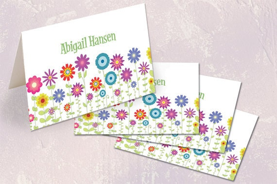 thank you cards, personalized thank you cards, mothers day gift ideas, floral stationary, flower patch thank you cards, flower mound, PS113