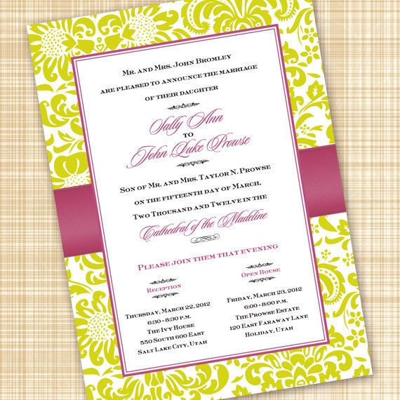 wedding invitations, lime and pink wedding invitations, pink and lime bridal shower invitations, lime bachelorette party invitations, IN310