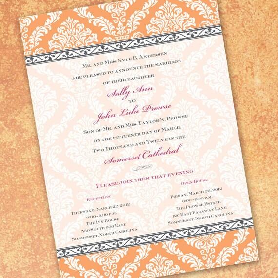 wedding invitations, tangerine wedding invitations, tangerine bridal shower invitations, clementine bridal shower invitations