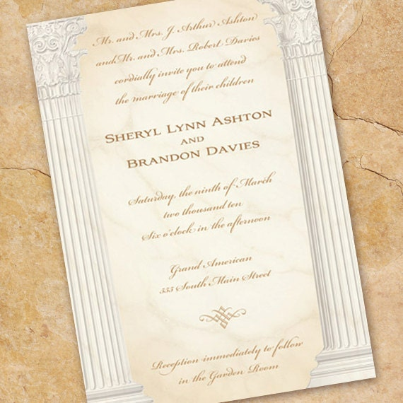 wedding invitations, ionic columns wedding invitation, cum laude graduation announcement, recital program, formal wedding invitations, IN147