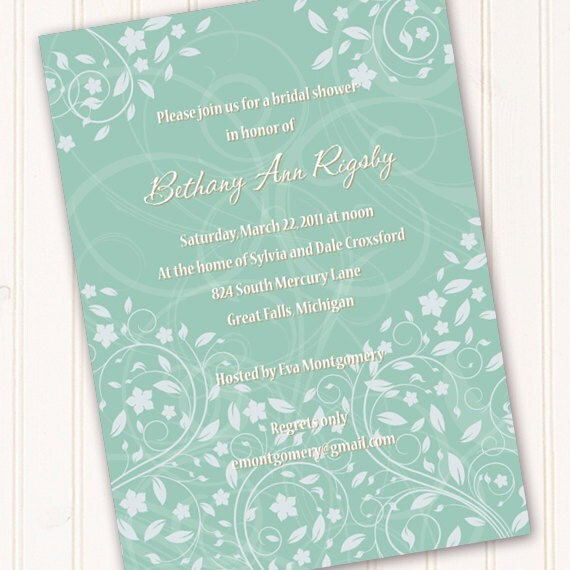bridal shower invitations, aqua bridal shower invitations, sea foam green invitations, aqua wedding invitations, aqua wedding announcements