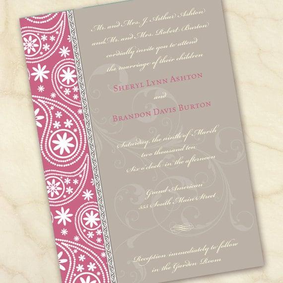 wedding invitations, bridal shower invitations, baby shower invitations, pink and gray wedding invitations, pink baby shower invitations
