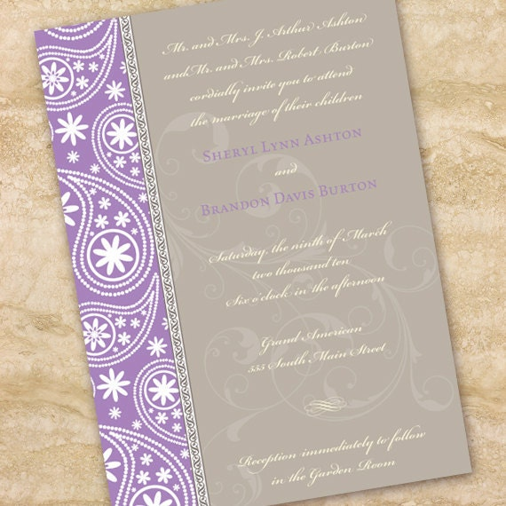 bridal shower invitations, lavender and silver bridal shower invitations, lavender and silver wedding invitations, IN149_5