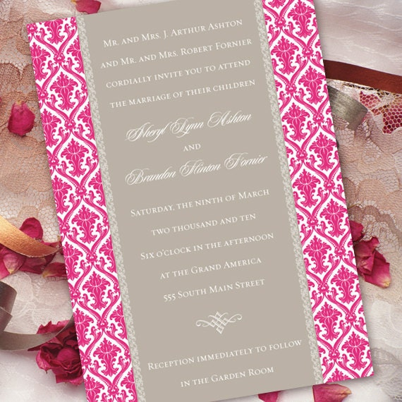 wedding invitations, pink and silver bridal shower invitations, baby shower invitations, fuchsia damask wedding invitations, IN150_4