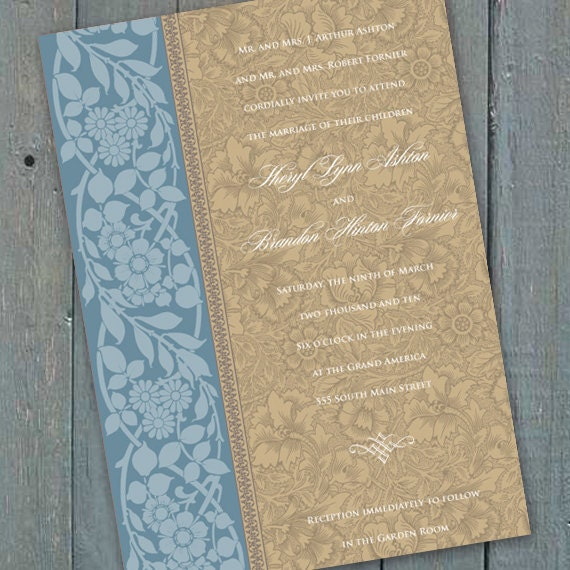 wedding invitations, blue and tan wedding invitations, country blue wedding invitations, blue and tan bridal shower, IN151_3