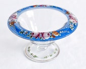 Vintage Glass Compote Hand-Painted