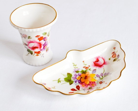 RESERVED FOR NINA : Vintage English China Vase & Tray