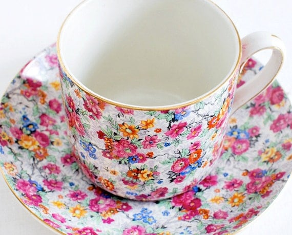 Chintz China Tea Cup and Saucer, Vintage & Very Large