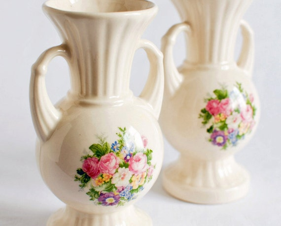 Vintage Pair Vases with Flowers