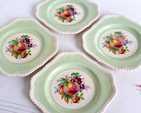 Four Luncheon Fruit Plates, English Vintage