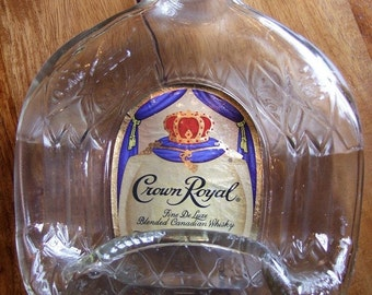 CROWN ROYAL Fused Bottle Ash Tray or Cheese Tray