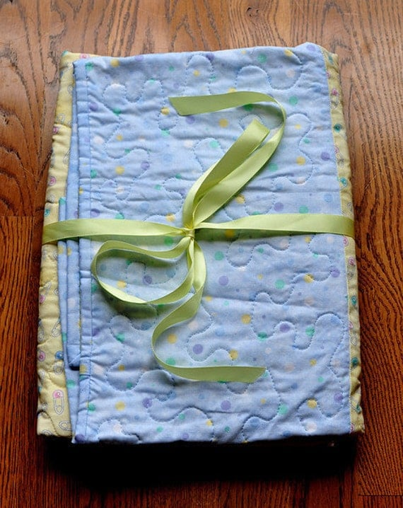 Baby Quilt. Yellow and Blue. New SALE price