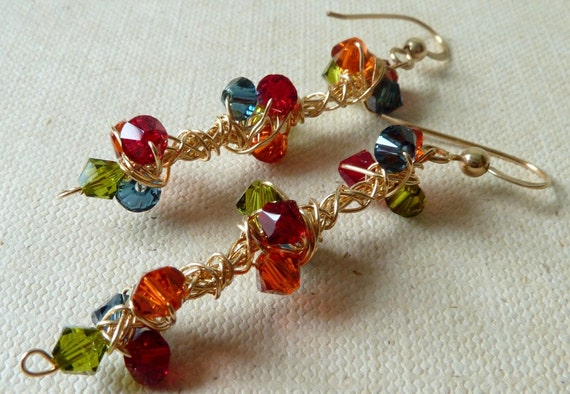 Colorful Earrings blue red orange green 14K Gold Filled