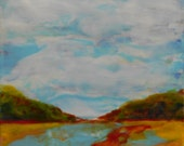 Into the distance, original encaustic landscape painting, mixed media, birch wood gallery wrapped REDUCED from 85.00 to 45.00