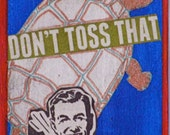 "Artist Trading Card - ""Don't Toss That"" -  ACEO -  Limited Edition of 30 - Cocktails - Turtle - Blue, red, green"