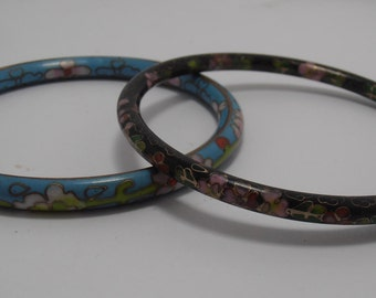 A set of  Cloisonne  enamel and wire bracelet Bangle Perfect for Summer