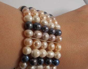 LARGE Cultured  Pearl Bracelet  wide  white, off white  pink, black PEARLS