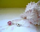 Sterling Silver Glass Heart  Bracelet - Free Shipping