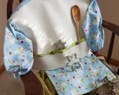 Reserved for Andrew until 7/22/2012 Custom Smock- Snowman with Snowflake Flannel Bibock with Reversible Lapkin