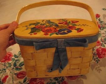 "Vintage Picnic Wicker Basket Purse ""Think Spring!"" Handbag"