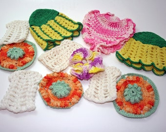 Crocheted Pieces, Vintage Embellishments, Hand Crochet