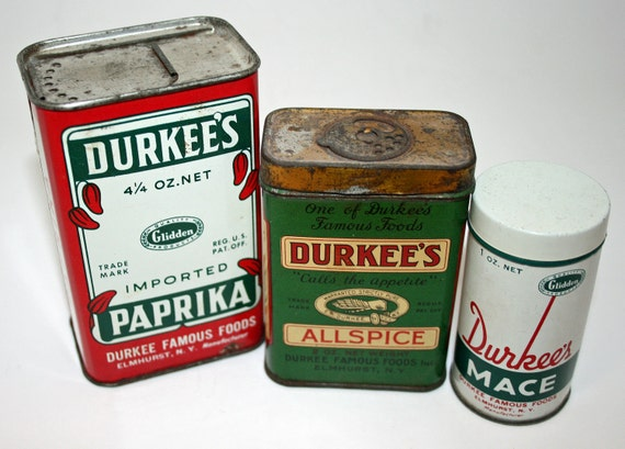 Spice Tins, Durkees, Mace, Paprika, Allspice