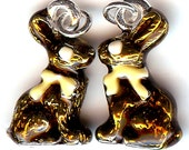CHOCOLATE BUNNY Charm. Silver Plated Enamel. 3D Rabbit. Easter. Candy. One Bunny Only!