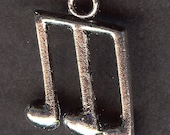 EIGHTH NOTES Charm. Silver Plated Zinc Alloy. Three Notes With Bar.