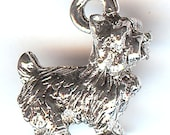 TERRIER Charm. Sterling Silver Plated Pewter. 3D West Highland White. Cairn Terrier. Dog. Toto. Toy. Made in the USA.