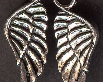 ANGEL WING Charm. Small. Silver Plated. Two Sided.