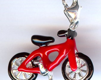 RED BICYCLE Charm. Silver Plated Enamel. 3D Bike.
