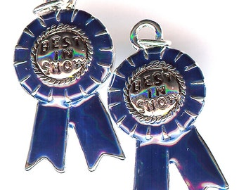 BLUE RIBBON Charm. Silver Plated Enamel. One Sided. Best in Show.