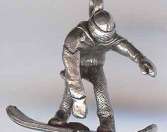 ONE - Pewter Charm. 3D Snowboarder. Snowboarding. Snowboard. Snow Board. Made in the USA.