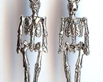 ONE - Pewter Charm. Tiny 3D Human Skeleton. Made in the USA.