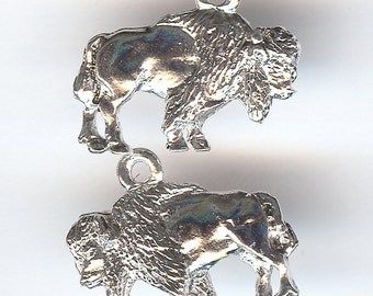 AMERICAN BISON Charm. Sterling Silver Plated. 3D Standing Buffalo. Made in the USA.