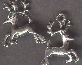 RUNNING DEER Charm. Silver Plated Zinc Alloy. 3D With Antlers. Whitetail. Mule Deer.
