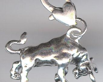 CHARGING BULL Charm. Silver Plated. 3D. El Toro. Taurus. No Lobster Clasp.