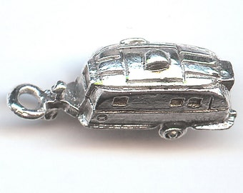ONE - Sterling Silver Pewter Charm. 3D Airstream Trailer. Camper. Made in the USA.