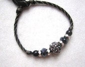 Boho Friendship bracelet w/ Crystal ball silver- tone spacers and beads-- Black & Gray hand knotted cotton