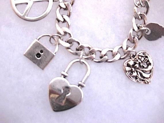 1/2 PRICE SALE Metal PEACE, Love, Key to My Heart Charm Bracelet