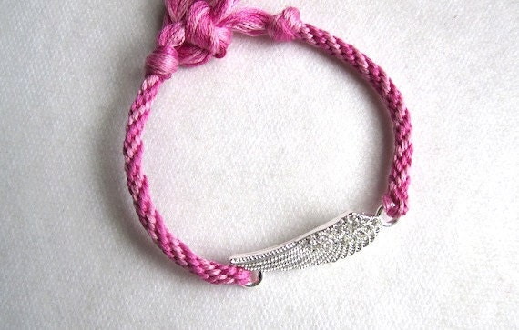 Silvertone WINGS w crystals- Charm Friendship Bracelet- lite and medium pink hand knotted cotton