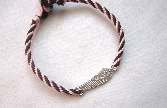 RESERVED for A M JimmytownONE Silvertone WIings w crystals Brown n Pink- Charm Friendship Bracelet/anklet- hand knotted cotton